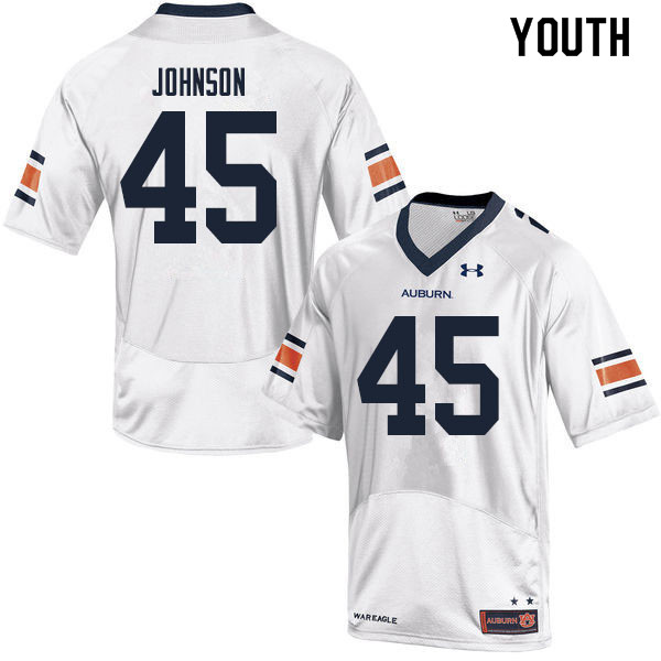 Youth #45 Caleb Johnson Auburn Tigers College Football Jerseys Sale-White
